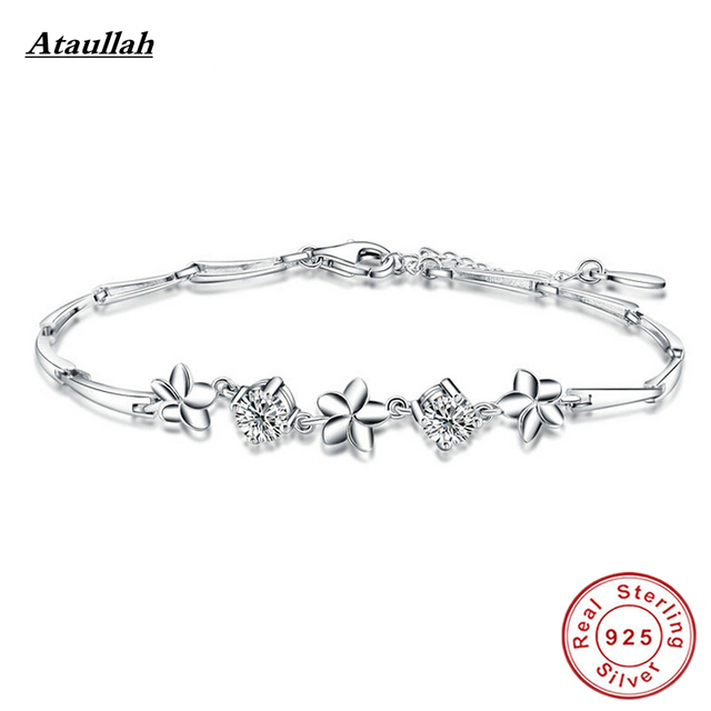 Ataullah New 100% Sterling Silver 925 Jewelry Flowers Bracelets for Women Top Quality Fine Jewelry Girl Bracelets BSW303