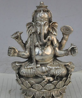 decoration BRASS factory outlets Tibet Silver tibet buddhism silver 4 arms Ganapati Ganesh Lord Ganesha Elephant buddha statue