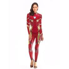 Avengers Iron Man Bodysuit Tony Stark Suit Cosplay Costume Halloween For Woman Jumpsuits