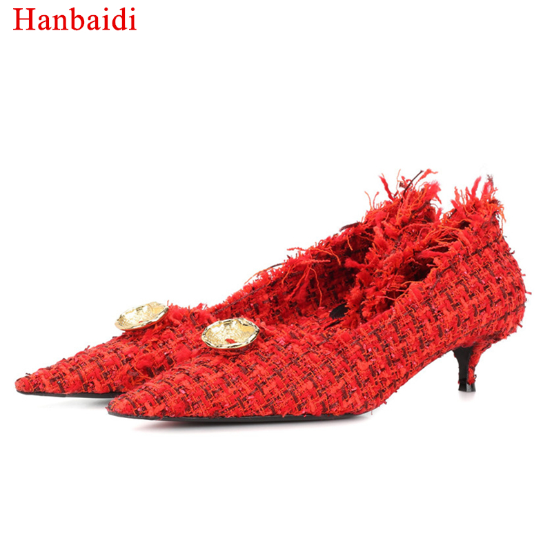 Hanbaidi Women Spring/Autumn Pumps Black Red Hemp Pointed Toe Slip On High Heels Button Decoration Runway Party Wedding Shoes solid black winter spring women fringe decoration shoes slip on pointed toe spike high heels mid calf boots women free shipping
