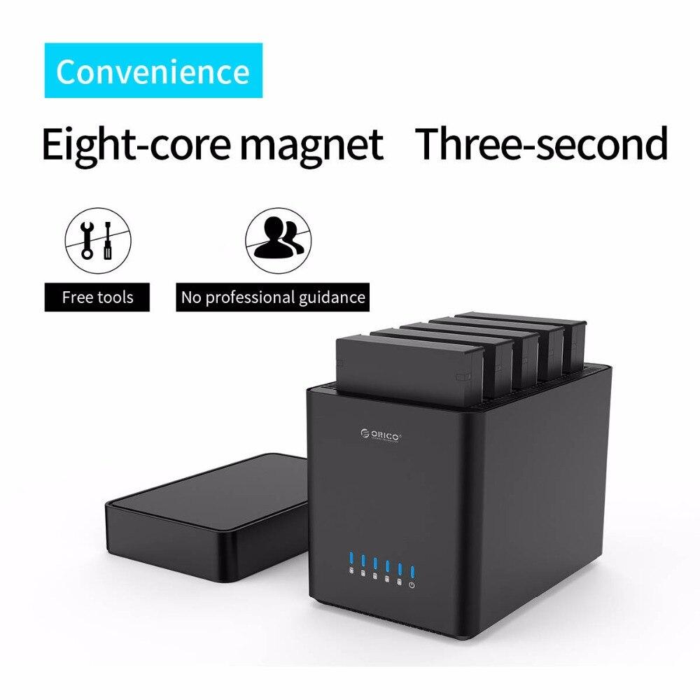 ORICO 5 baies de type magnétique 3.5 pouces USB3.0 boîtier de disque dur Support 50 to Max 5 Gbps UASP 12 V adaptateur sans outil HDD boîtier - 2