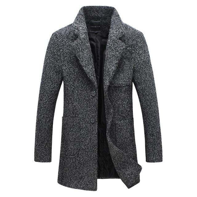 2017 осенние мужские плащ-пыльник шерстяное пальто Slim Fit пиджаки 2 цвета M-5XL ayg118