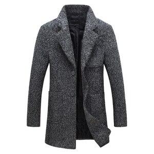 Image 2 - Drop verschiffen herbst männer staub mantel woolen mantel slim fit outwear 2 farben M 5XL AYG118