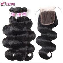 """Funmi Волосы бразильские волнистые девственные волосы пучки с закрытием 4 шт человеческие волосы пучки с закрытием 8-2"""" накладка из натуральных волос"""