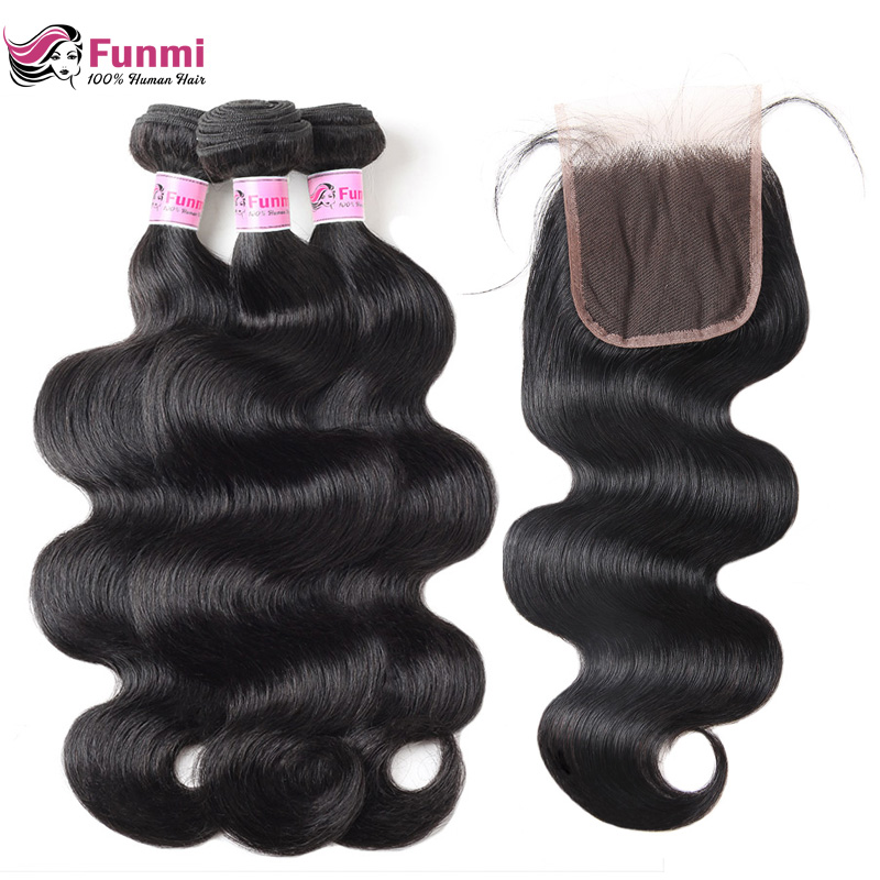 "Funmi Hair Brazilian Body Wave Virgin Hair Bundles With Closure 4PCS Human Hair Bundles With Closure 8-28 ""Virgin Hair Extension"