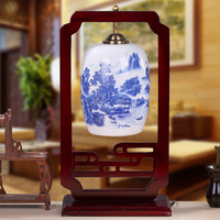 Chinese Style Ceramic Bedroom Lamp Ofhead Led Decoration Table Lighting Classical