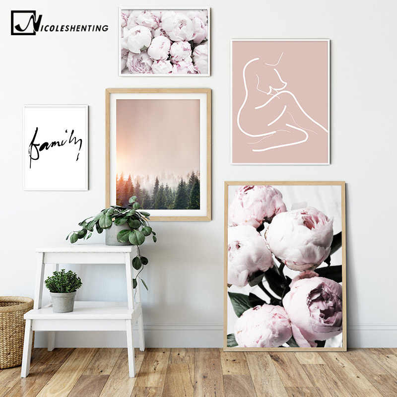 Pink Peony Flower Family Picture Scandinavian Poster Nordic Forest Sunset Print Wall Art Canvas Painting Modern Room Decoration