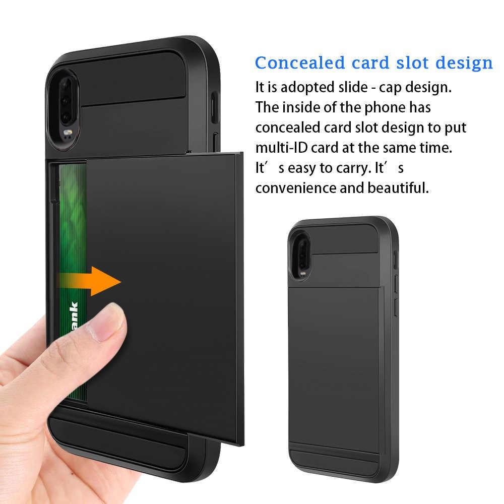 Huawei P30 P20 Pro Lite P akıllı 2019 durumda slayt kredi kartı yuvası cüzdan telefon kılıfı için Huawei P30 Pro lite P akıllı 2019 P20