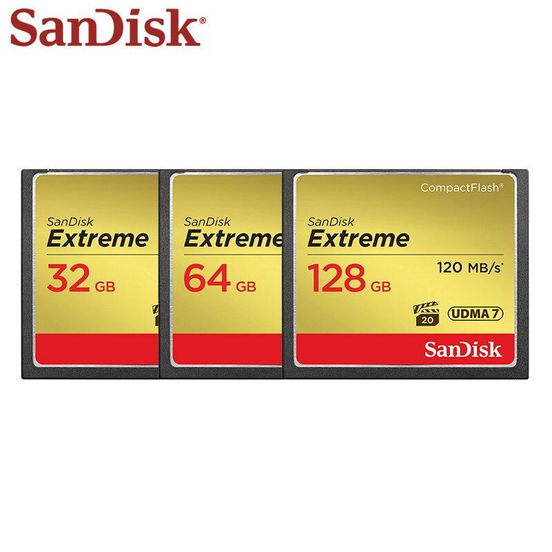 SanDisk Extreme CompactFlash 32GB 64GB 128GB CF cartes UDMA-7 800X VPG-20 120 mo/s cartes mémoire Flash compactes pour appareils photo reflex/HD - 4