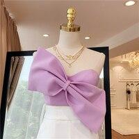 2019 Summer New Bra Tops Women INS Fashion Sexy Short Bow Top Temperament Outwears Female Short Shirt Nancylim