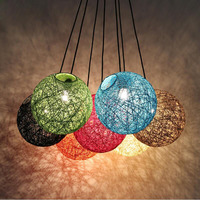 Creative Personality Edison Bulb Colorful Pendant Lamps Restaurant Bar Cafe Lamps Rattan Field Pasta Ball E27