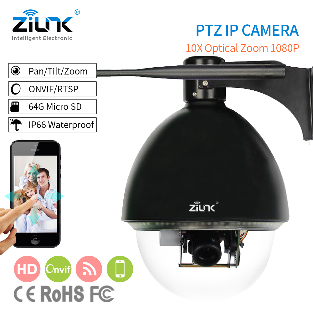 ZILNK 10X Optical Zoom 1080P 2MP High Speed Dome IP PTZ Camera PoE Night Vision Outdoor Support  I/O Alarm Micro-SD Card 64GB 4 in 1 ir high speed dome camera ahd tvi cvi cvbs 1080p output ir night vision 150m ptz dome camera with wiper