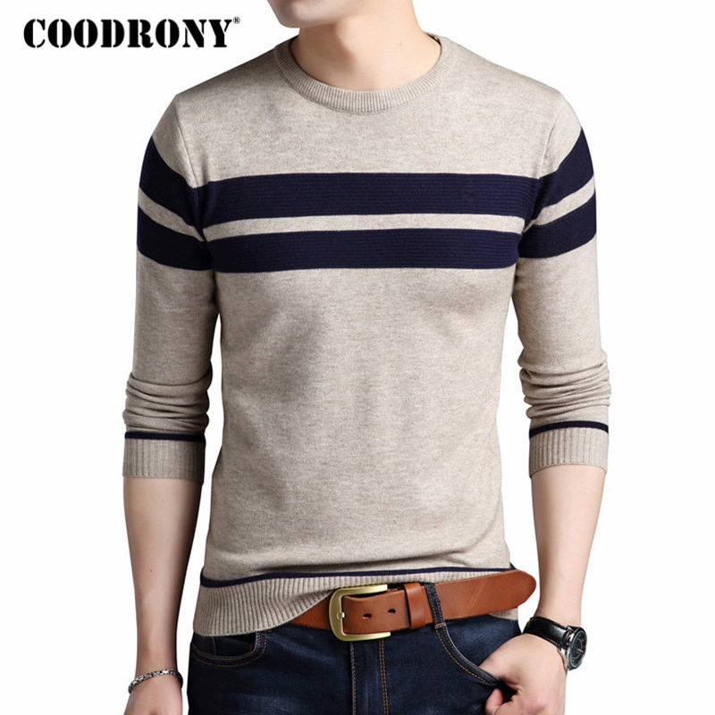 COODRONY Cotton Sweater Men 2017 Autumn Winter Thick Warm Wool Sweaters Casual Slim Fit O-Neck Pullovers Men Cashmere Pull Homme