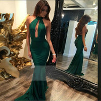 Sexy Emerald Green Mermaid Long Prom Dresses 2018 Prom Dress Halter Stretch Satin Low Back Floor Length Women Party Gown Evening