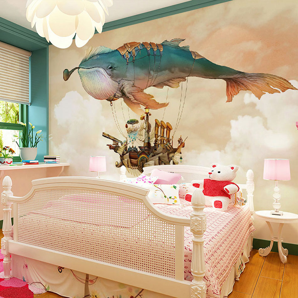 3d Room Wall Paper Cartoon Cute Traval in Fish Fire Balloon Mural Rolls Natural Wallpaper for 3 d Wall Kids Bedroom Household bacaz small dots cartoon wallpaper roll for child kids room background wall paper rolls 3d wallcoverings
