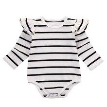 Хлопковый комбинезон в полоску с длинными рукавами для новорожденных и маленьких мальчиков и девочек, боди, комплект одежды