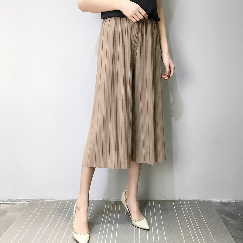 Summer thin pleated chiffon   pants   women crumpled loose waist thin female   wide     leg     pant   was thin fold   pants   girl