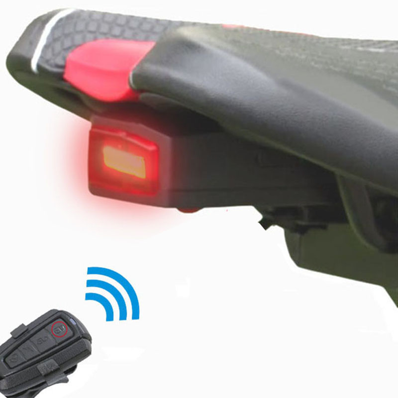 Wireless Alarm Bike Bell Taillight Light Cycling LED Bicycle Remote Control Light Bike Accessories USB Rechargeable Lock