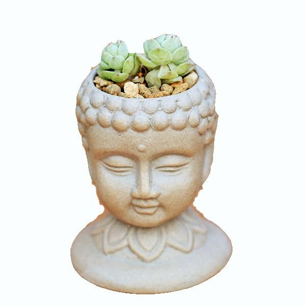 flower pot silicone mold 3d vase molds cement planter mould Buddha head flower pots handemade mold  Buddha silicone mold 3d silicone mold molde 3d - title=