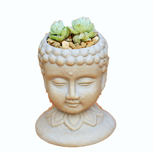 PRZY silicone  mold Cement concrete 3D hand carving Buddha head characteristics pots and more meat small