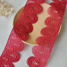 free shipping 3cm Handmade DIY  Fabric Lace trim white or black color for garment accessory YY06