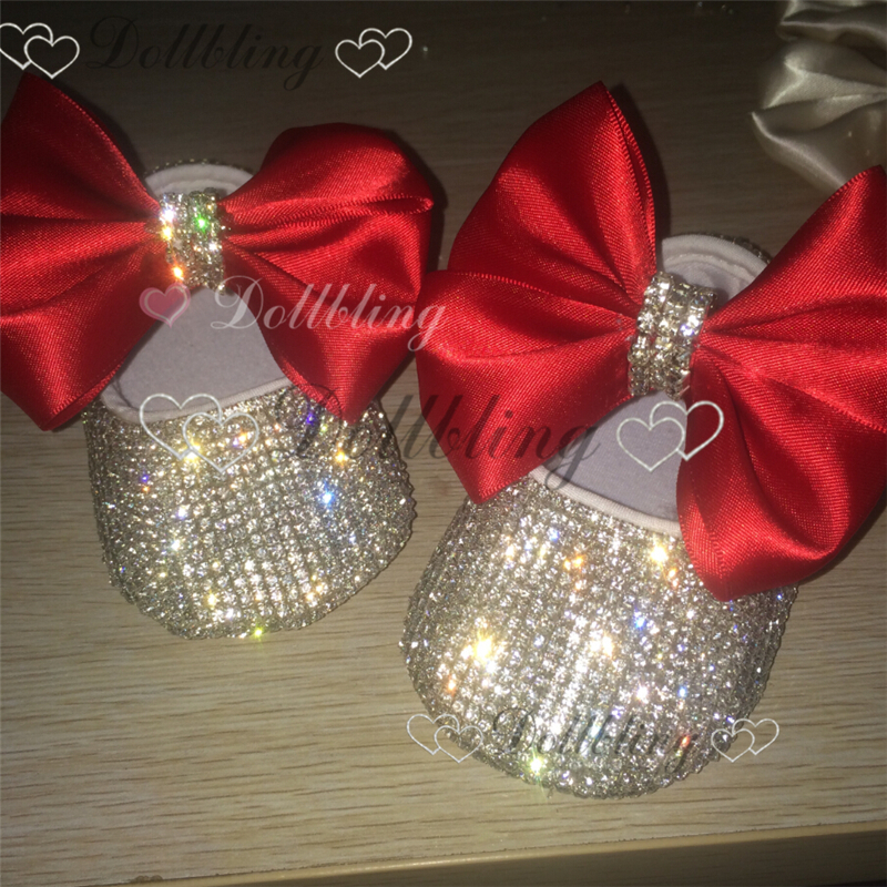 Dollbling Baby Girl Shoes Inlaid Rhinestone Red Big Bow Comfortable Sole Birthday Present Centennial Days Gift Baby Shoes