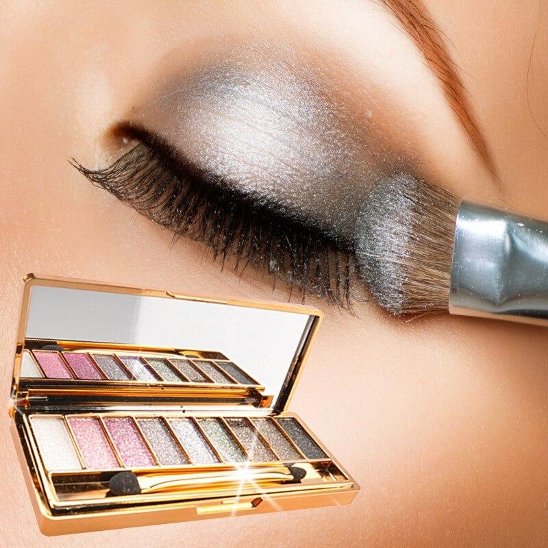 9 Colors Diamond Bright Shining Colorful Eyeshadow Eye Shadow Palette & Makeup Eye shadow flash Cosmetic Brush Set For women
