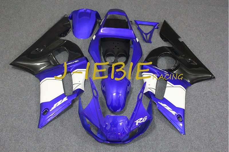 Blue white black Injection Fairing Body Work Frame Kit for Yamaha YZF 600 R6 1998 1999 2000 2001 2002