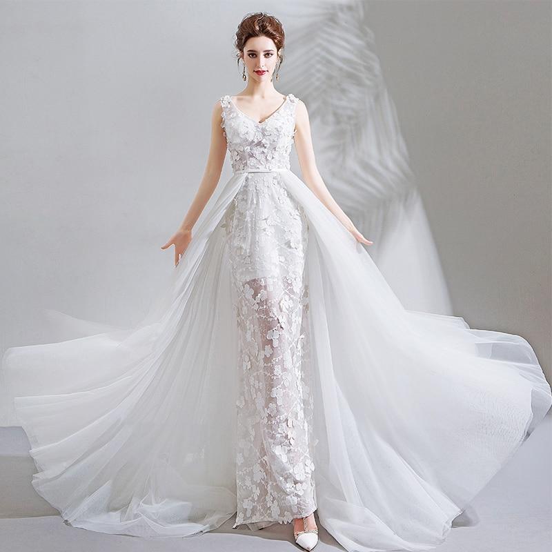 Appliques Wedding Dress 2019 Elegent Lace Flowers Bridal