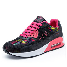 YeddaMavis Black Women Shoes Air Cushion Sneakers Spring New Lace Up Mesh Womens Woman Trainers Zapatos De Mujer