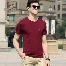 Summer t shirt men brand clothing Solid Cotton High Quality t-shirt men Slim casual tshirt fashion mens short sleeve T-Shirt Men