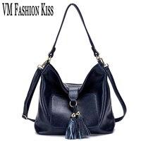 VM FASHION KISS Leisure Genuine Leather Female Tassel Multi-pocket Messenger Bag Purses And Handbags Women Casual Shoulder Bag