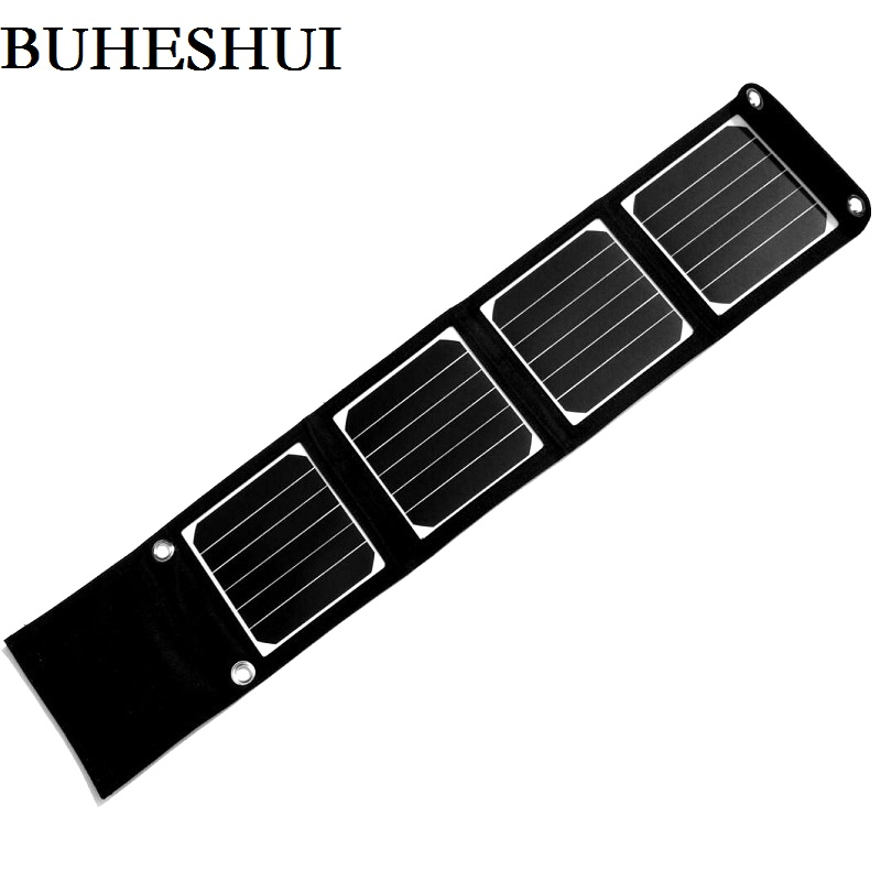 BHUESHUI 14W Portable Solar Panel Charger For iPhone/Mobile Phone/MP3 Camping/Travel Foldable Dual USB Battery Charger Sunpower смартфон bq 6001l jumbo black mediatek mt6739wa 2gb 16gb 6 0 1440x720 2 sim 3g lte bt 13mp 8mp wi fi gps android 7 1