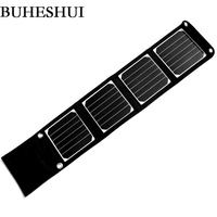 BHUESHUI 14W Portable Solar Charger For IPhone Mobile Phone MP3 Camping Travel Foldable Dual USB Battery