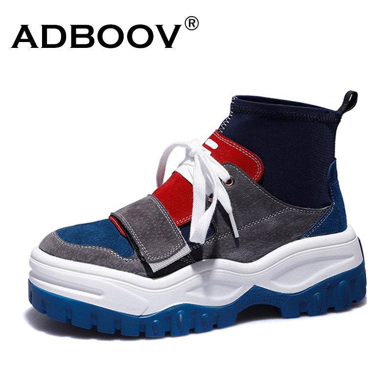 Adboov Fashion Fall Winter Shoes Woman High Top Genuine Leather Sneakers Women Thick -1629