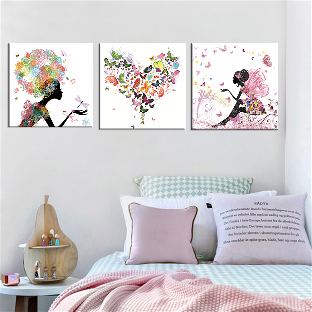 Frameless Dancing Girl Oljemålning Butterfly Wall Poster Canvas Art HD Modular Picture Home Decor (Inkluderar 8 färger) 3 delar