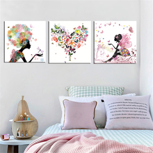 Frameless Dancing Girl Oil Painting Butterfly Wall Poster Canvas Art HD Modular Picture Home Decor ( Include 8 Color ) 3 Pieces frameless dancing girl oil painting butterfly wall poster canvas art hd modular picture home decor 3 pieces