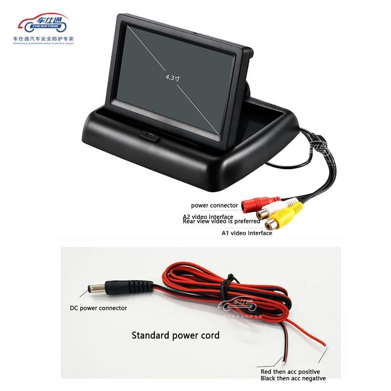Image 5 - 4,3 дюймовый складной ЖК дисплей для парковки, автомобильный монитор заднего вида, зеркало заднего вида, резервный дисплей, 2 видеовхода, реверсивная камера DVD-in Мониторы для авто from Автомобили и мотоциклы