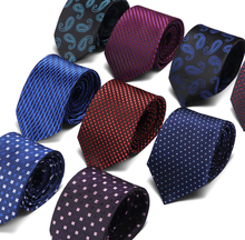 New Purple striped 7.5cm Tie Red Gold Gray Green Ties For Men Jacquard Woven Silk Neck Suit Formal Office group Slim
