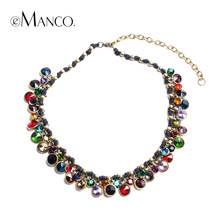 eManco Bohemia ethnic style multicolor crystal necklaces for women new brand promotions trendy luxurious chokers NL03886(China)