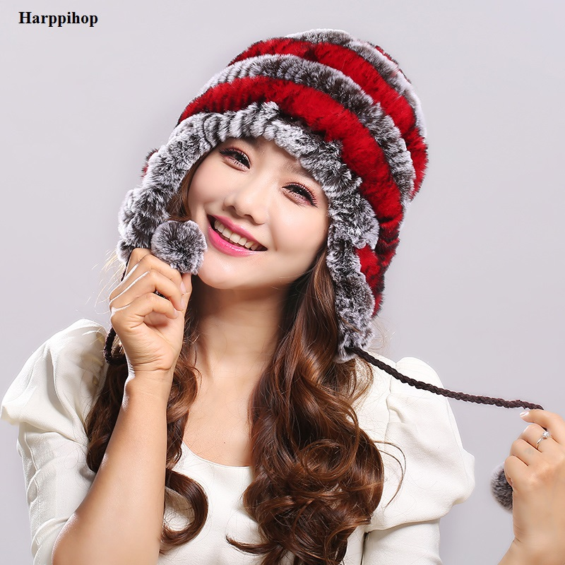 Women s Rex Rabbit Fur Hats Winter Ear Cap Flexible Multicolor Hot sale real fur Beanie