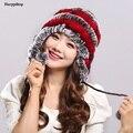 Women's Rex Rabbit Fur Hats Winter Ear Cap Flexible Multicolor Hot sale real fur Beanie Cap with stripe pompoms H-21103