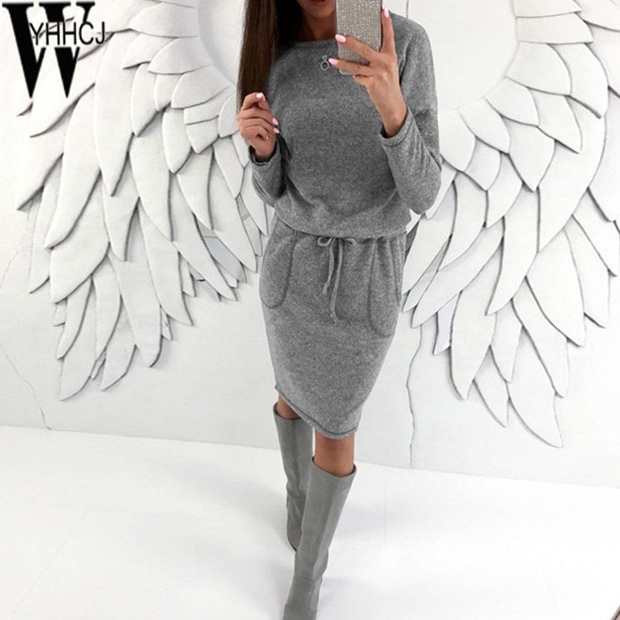 WYHHCJ nouveau chaud tricot femmes chandail robes o-cou solide automne/hiver robe moulante poches ceintures épaissir femmes robe robe 2018
