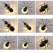 Outdoor LED Ant Spider Beetle Wall Lamps Interesting Animal Insect Lights Black Iron Luminaire Bracket Lamp
