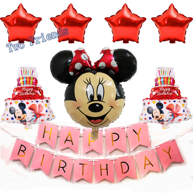 8pcs Mickey Mouse Birthday Foil Balloons Minnie Mouse Party