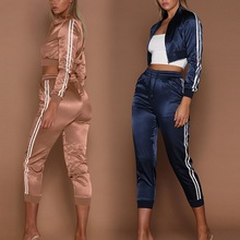 Vertvie Women's Solid Color Sports Suit Striped Cropped Zipper Clothing Running Sets High Waist Long Sleeve Fitness Suits 2019
