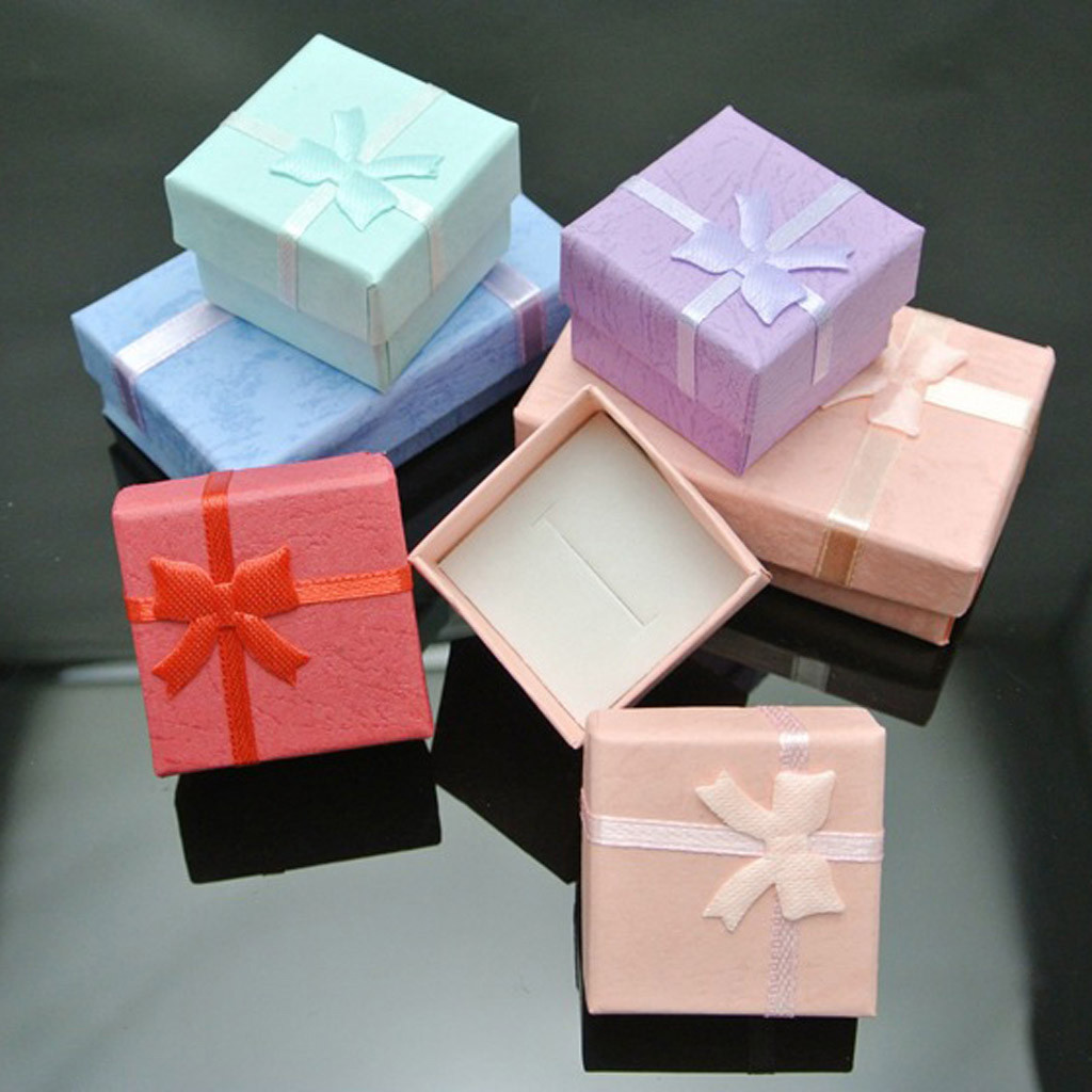 Ring Earring Jewelry Display Mini Jewelry Gift Box Bowknot Square Case