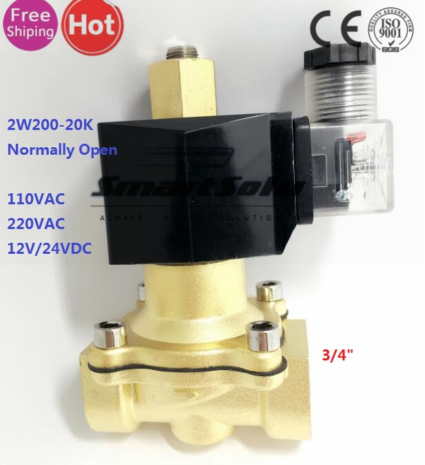 Pneumatic Normally Open Electric Solenoid Valve Water Air Gas Oil,2w200-20 N/O 3/4 Inch,12v 24v DC 110V 220V AC dc 12v normally open n o 2 way pilot solenoid valve15mm water steam oil solenoid electric valve