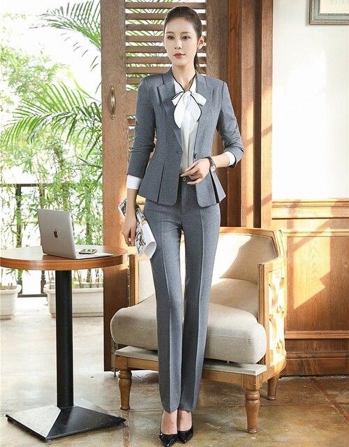 c43a92c82792 Formal gris blazer mujeres Pantalones de traje con chaqueta Sets elegante  señoras trabajo desgaste Oficina uniforme estilos