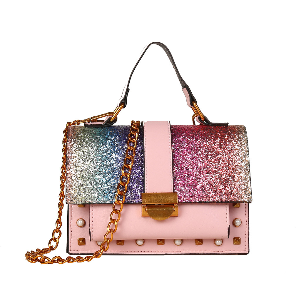 Pink Patchwork Color Diamond Shiny Handbags Purse One-Shoulder Small Square Bag Women PU Leather Chain Wild Messenger Bags